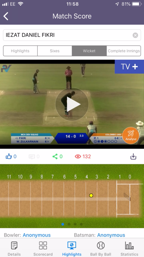 Mobile app where players can view their match videos